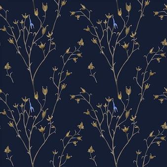 草原植物暗いシームレスパターン