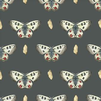 草原蝶のシームレスパターン