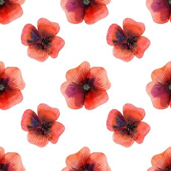 草原のケシの花のシームレスパターン