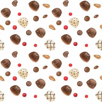 チョコレート菓子と甘いロマンチックな水彩パターン