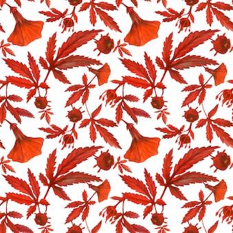 赤いハイビスカスのシームレスパターン