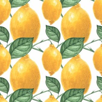 トレースされた水彩画による黄色いレモンのシームレスパターン