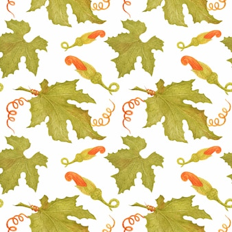 カボチャの葉と水彩のシームレスパターン