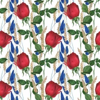 ガーデンローズのシームレスパターン