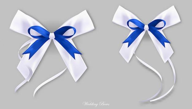 ギフトブルーホワイトシルク弓