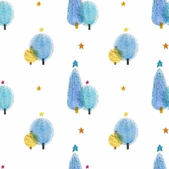 クリスマスツリー手描き水彩シームレスパターン