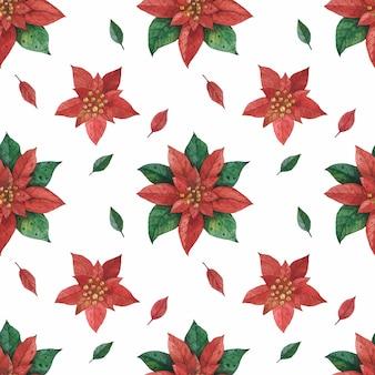 Рождественская красная зеленая звезда пуансеттия рисунок