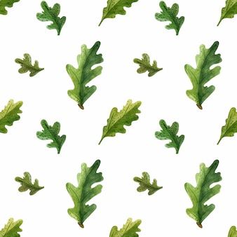 緑のオークの葉水彩シームレスパターン