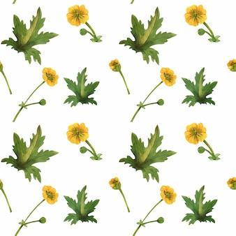 スコットランドのシームレスなパターンの野生植物