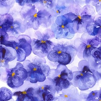 紫のパンジーの花のシームレスパターン