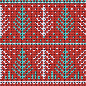 クリスマスいセーター赤のシームレスパターン