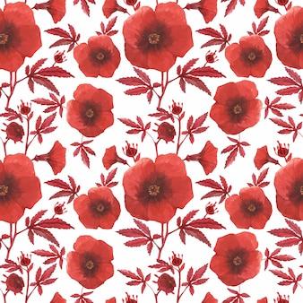 赤い花柄シームレスハイビスカス