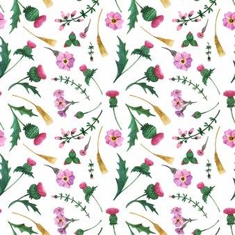 アザミとヘザーの花の水彩画のシームレスパターン