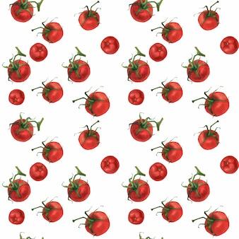 トマトと水彩の現実的な食品パターン