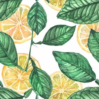 レモンと葉のシームレスパターン