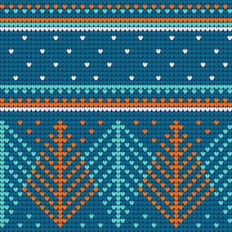 青いニットのシームレスパターン