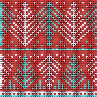 赤いニットのシームレスパターン