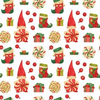 Рождественская фабрика эльфов бесшовный узор с чулками и леденцами