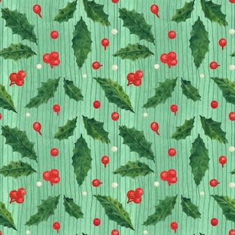 Рождество холли проследило акварель бесшовные зеленый узор с листьями и ягодами