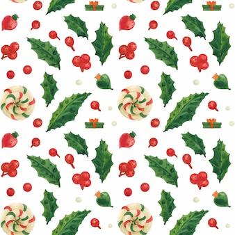 ホリーとロリポップのクリスマスエルフ工場シームレスな水彩パターン