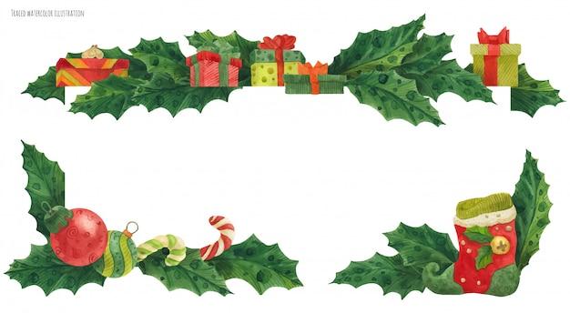 Новогодняя падубовая граница с чулками и подарками, прорисованная акварелью