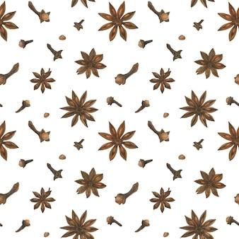 乾燥クローブとスターアニスの白いシームレスパターン