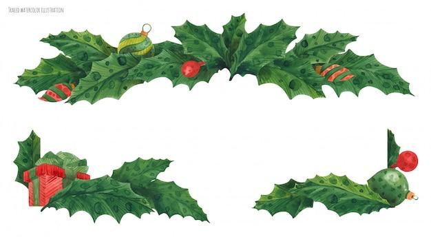 Новогодняя граница падуба с рождественскими стеклянными шарами
