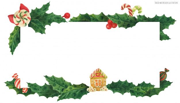 ジンジャーブレッドの家とお菓子のクリスマスヒイラギヘッダー