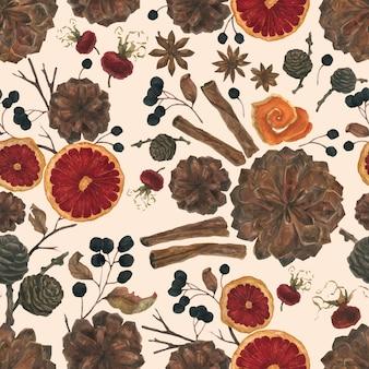 冬の植物とスパイスのシームレスパターン