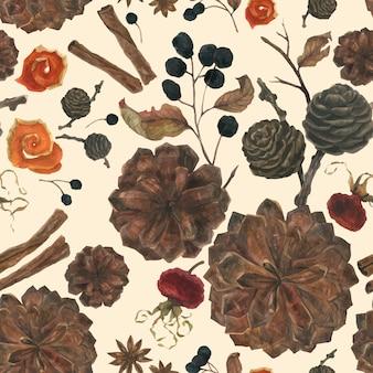冬の植物やスパイスの水彩画のシームレスパターン
