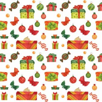 Рождественский бесшовный акварельный фон со сладостями и подарочными коробками на белом фоне