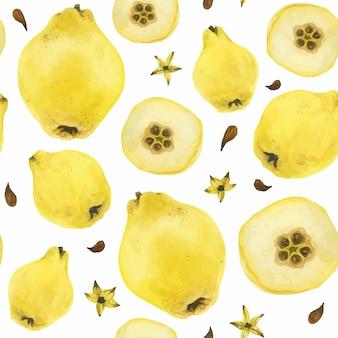 黄色マルメロフルーツシームレスパターン