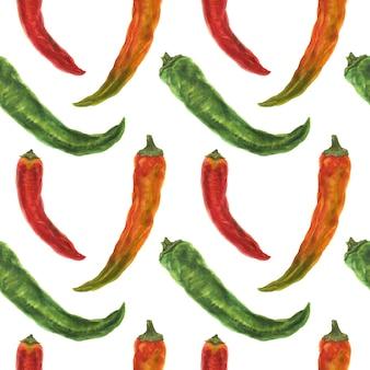 Зеленый, оранжевый и красный острый перец, акварель бесшовные модели