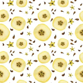 黄色マルメロハーフフルーツのシームレスパターン