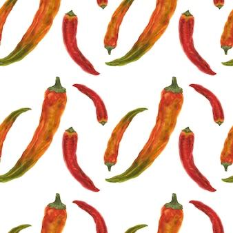 赤とオレンジ色の唐辛子のシームレスパターン