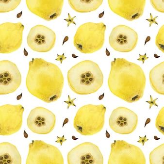 黄色のマルメロフルーツとハーフフルーツのシームレスパターン