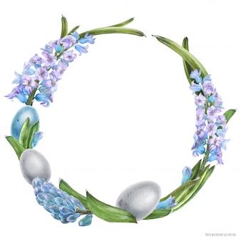 Декоративный акварельный венок с гиацинтными цветами и яйцами