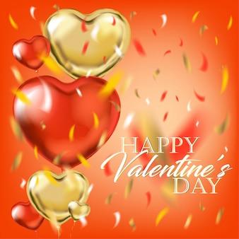 Золотые красные сердца с днем святого валентина