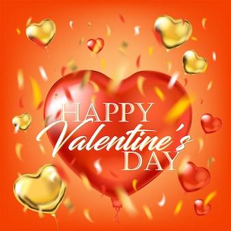 С днем святого валентина на большом красном воздушном шаре из фольги