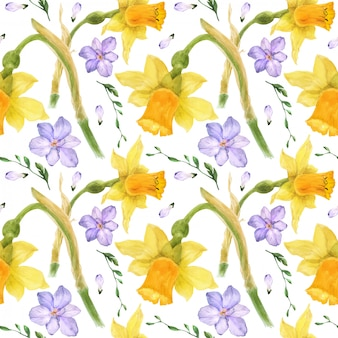 Желтый нарцисс и фиолетовая фрезия акварель бесшовный фон