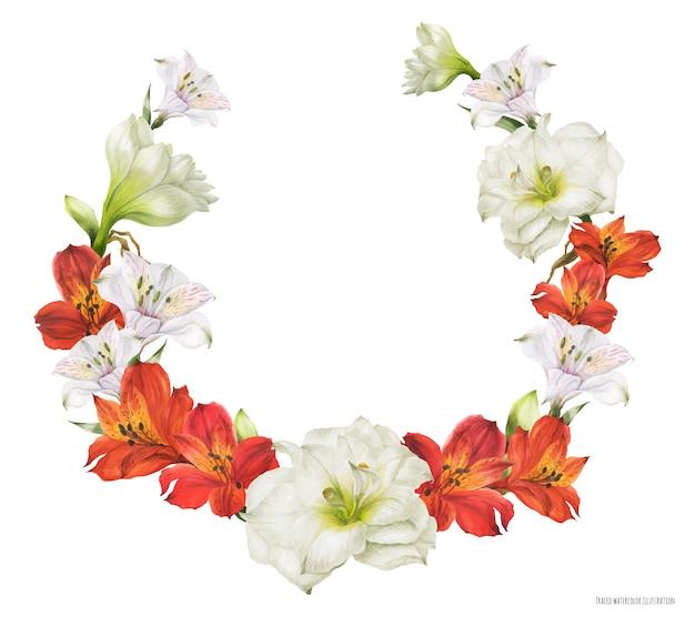 赤と白の花を持つブライダルリース