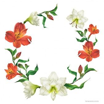 赤と白のユリの花と花の花輪