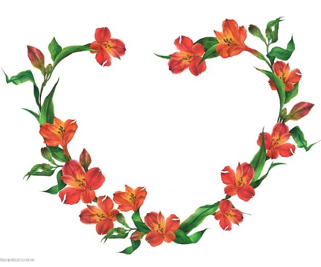 赤い花とロマンチックなハート形の花輪