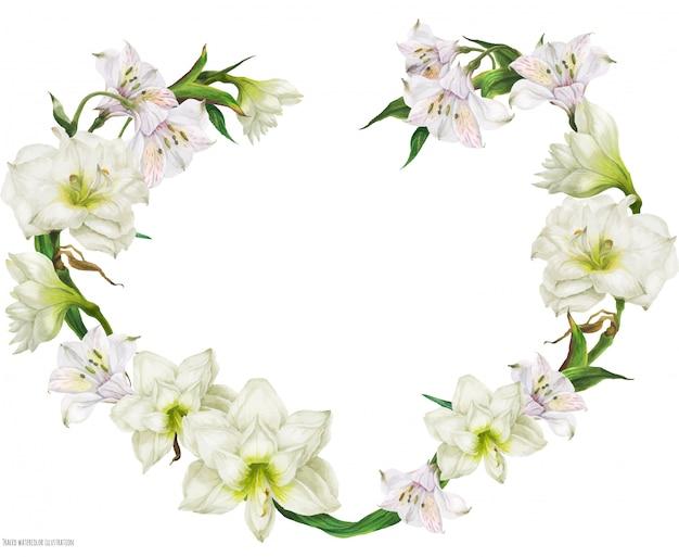 白い花とブライダルハート形の花輪