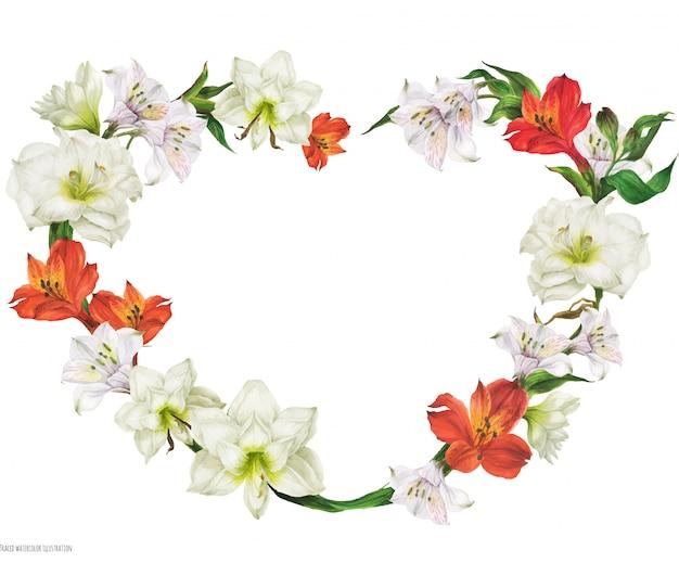 白と赤の花を持つロマンチックなブライダルハート形の花輪