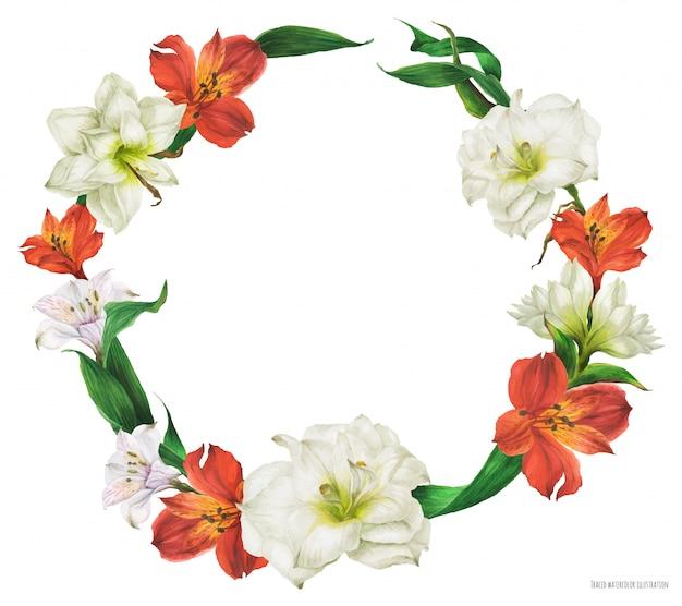 Цветочный акварельный венок с красными и белыми цветами лилии