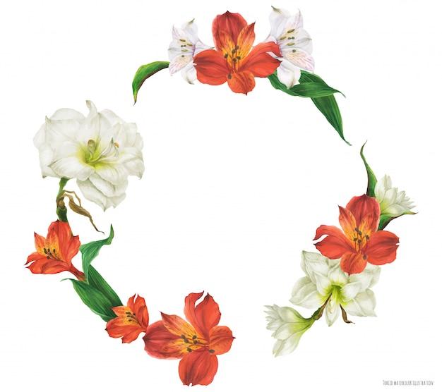 Цветочная круглая рамка с красными и белыми цветами лилии