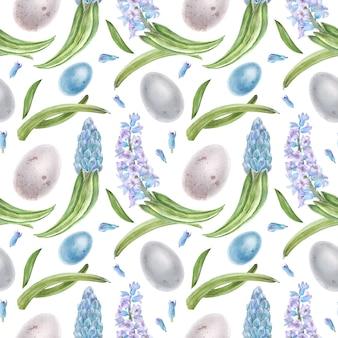 Гиацинт и яйца акварель бесшовный фон