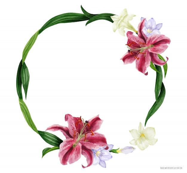 Тропический круглый венок с лилией звездный глазок и фрезией