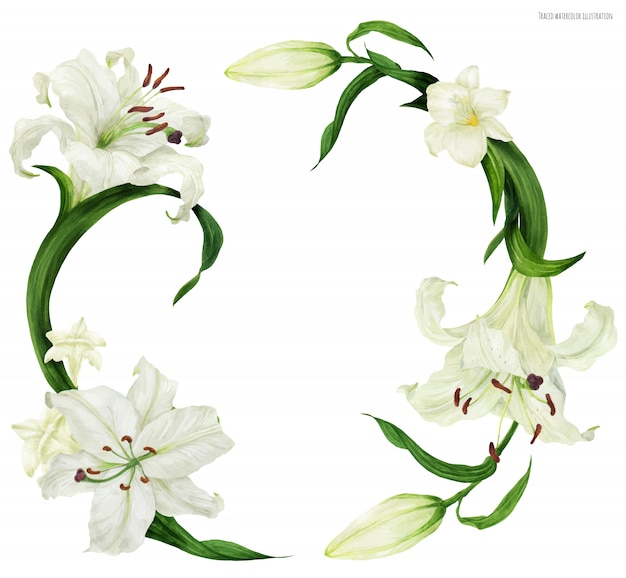 Тропический венок с белой лилией и фрезией